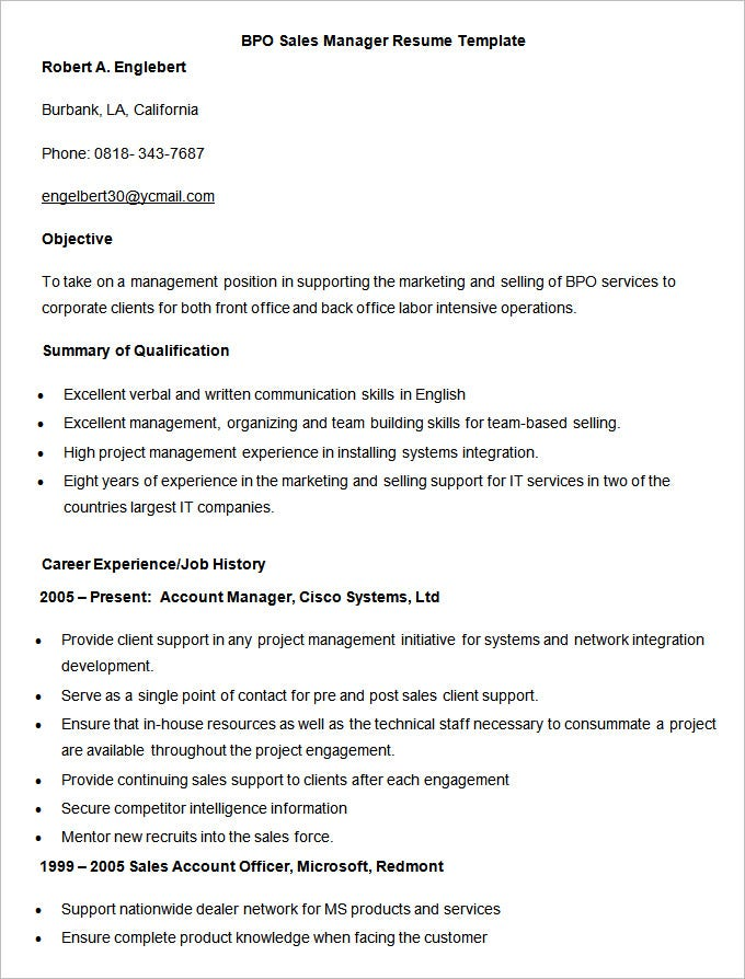 this bpo sales manager resume template example would be handy when you are in need of an expert help to better your cv for further jobs - Sample Resume Format For Experienced Sales Manager