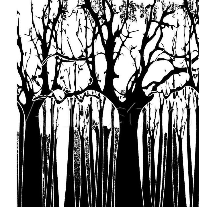 bw abstract tree painting