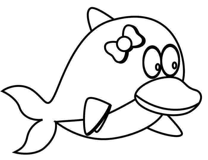 baby dolphin coloring page - Cute Dolphin Coloring Pages