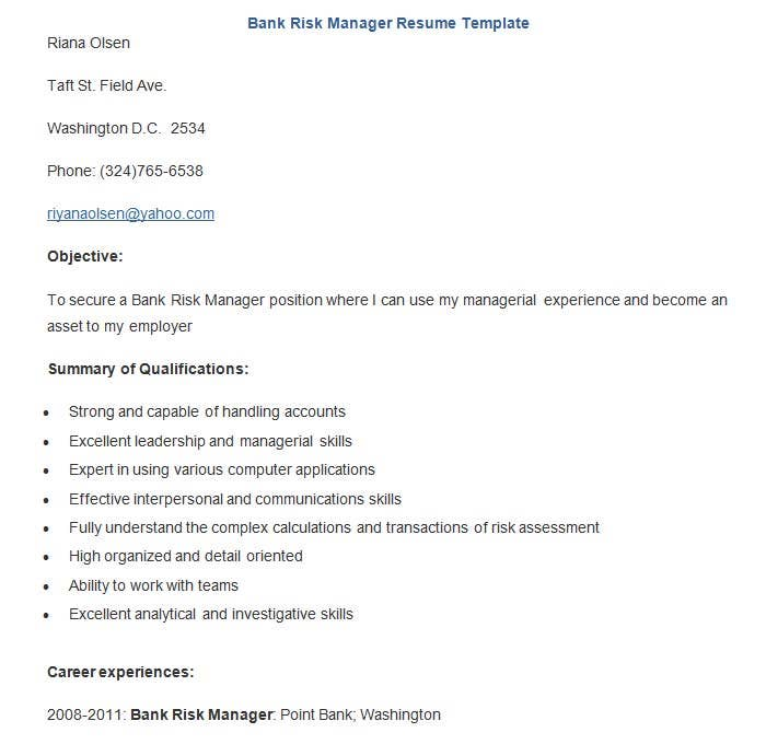 Credit Risk Manager Sample Resume