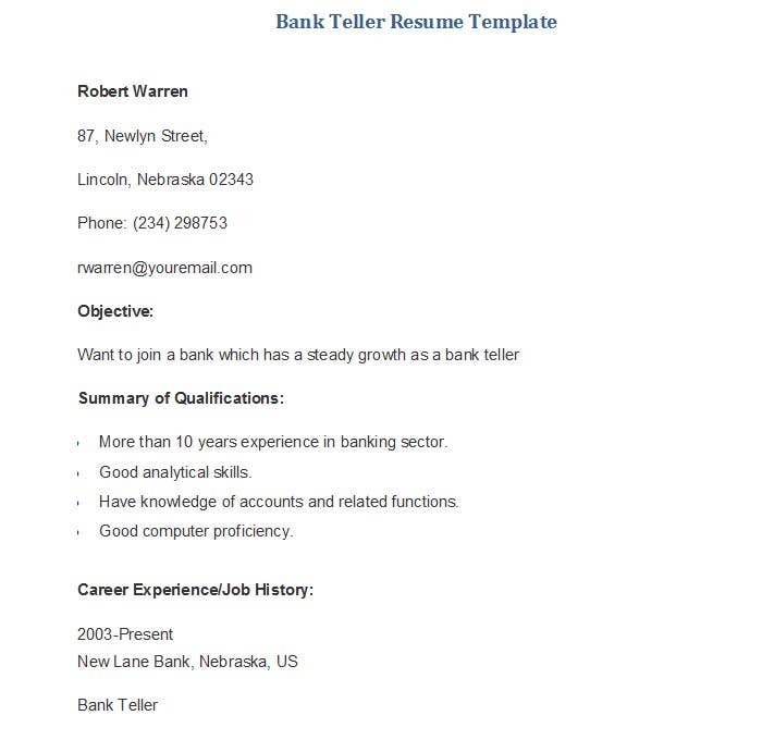 bank teller resume template sample