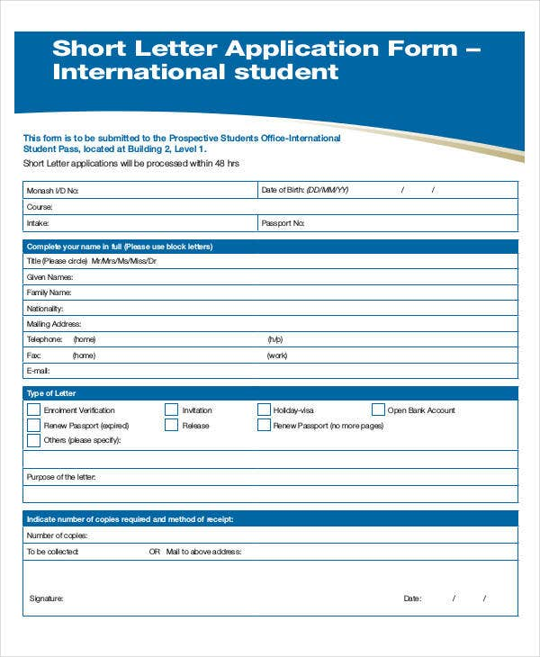 basic student short letter application form