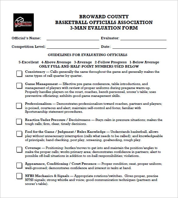 12+ Free Basketball Evaluation Forms | Free & Premium Templates