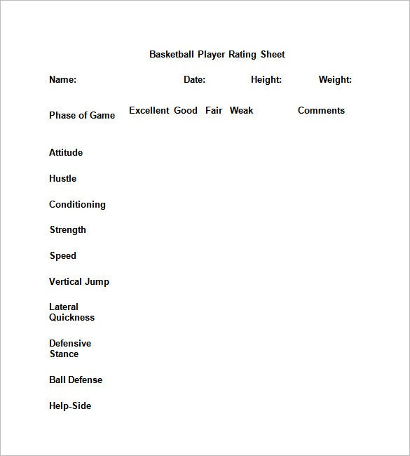 12 free basketball evaluation forms free premium templates