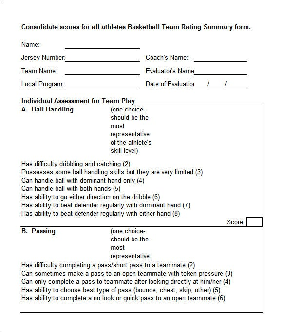 Free Basketball Evaluation Forms  Free  Premium Templates