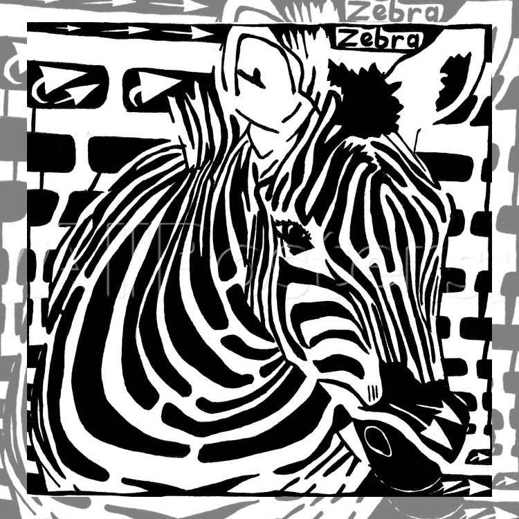 beautiful abstract zebra bw painting