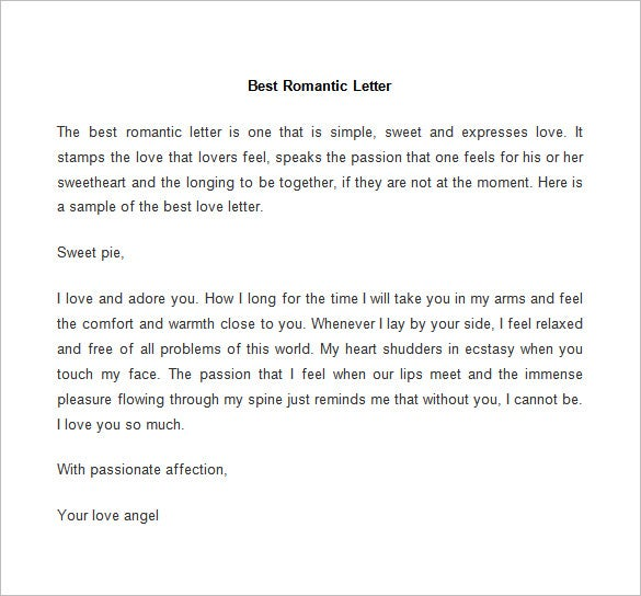 best romantic letter template