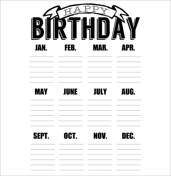 Birthday calendar 43 calendar template free premium templates a pdf reader friendly birthday calendar template that comes with a cutesy minimal banner and separate columns for all months this print ready format is saigontimesfo