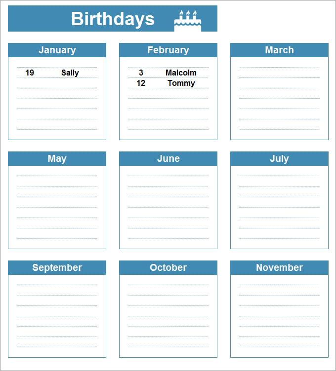... Birthday Reminder Calendar Template Birthday Calendar Calendar Template  Free Premium ...