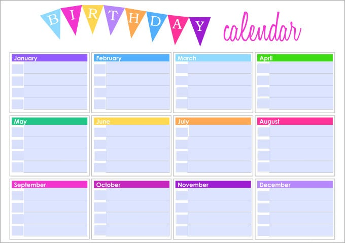 Birthday Calendar Ideas For Work : Birthday calendar template free premium