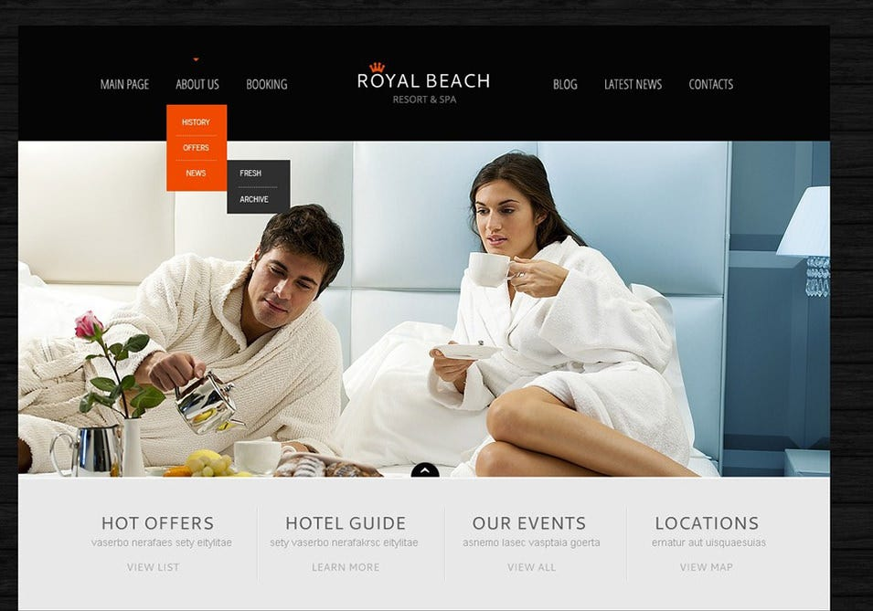 Black Hotel Business WordPress Theme