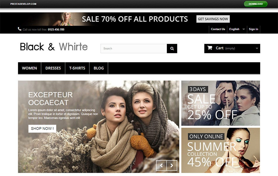 blackwhite free prestashop themes
