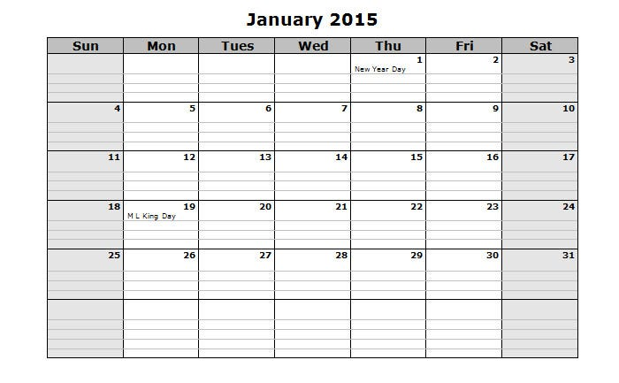 blank calendar 2015 holiday notes