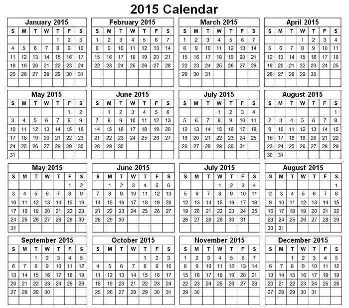 40 Sample 2015 Calendar Templates Designs Free – Sample 2015 Calendar