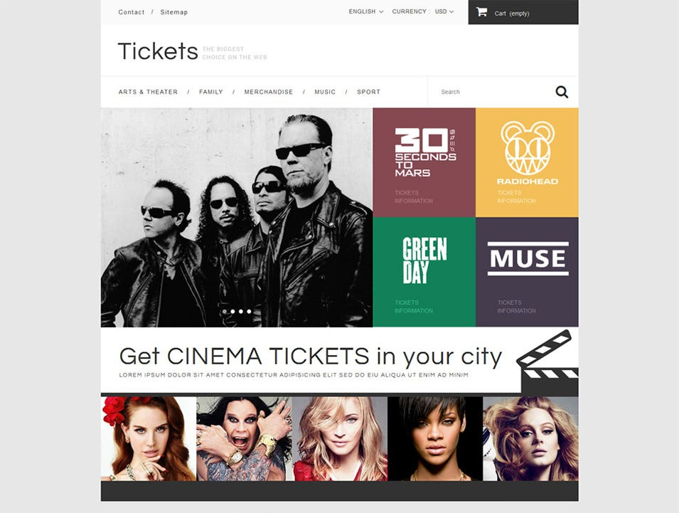 book tickets prestashop theme