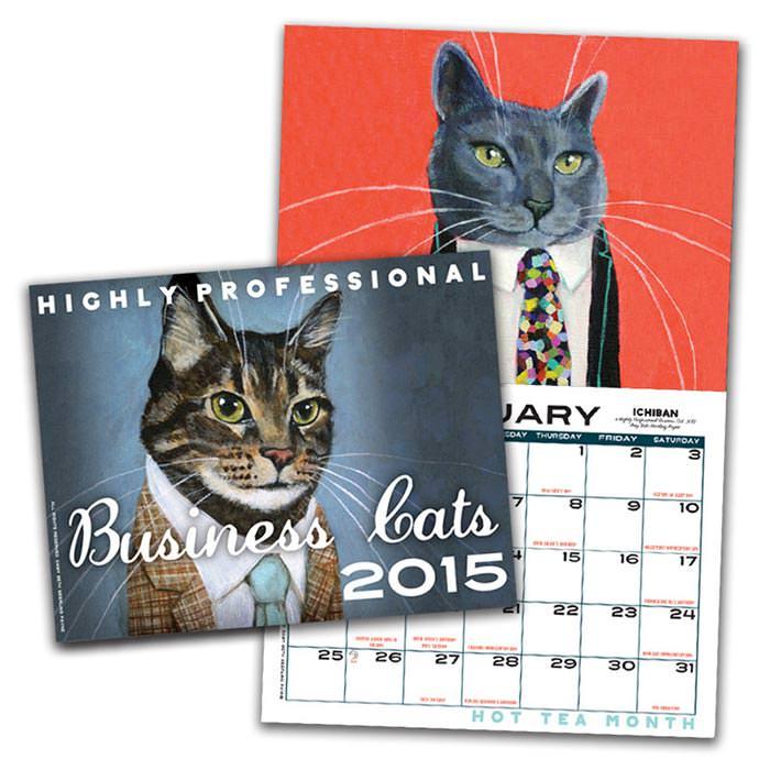 business cats wall calendar 2015