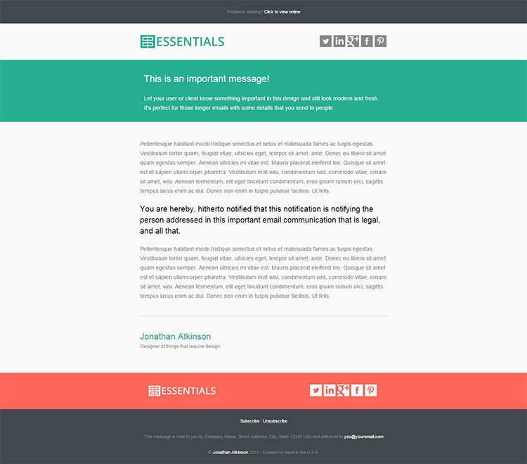 20 business email templates samples free premium templates business essentials html email 17 accmission