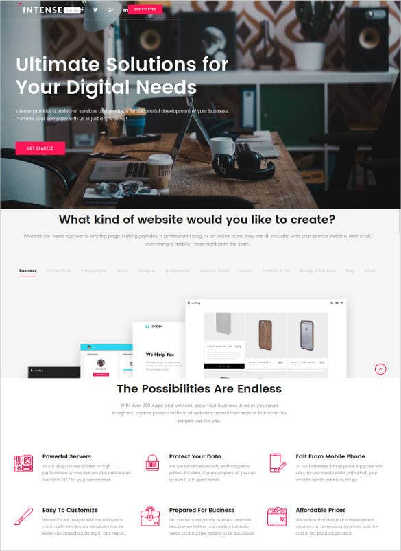 business html 5 responsive landing page template