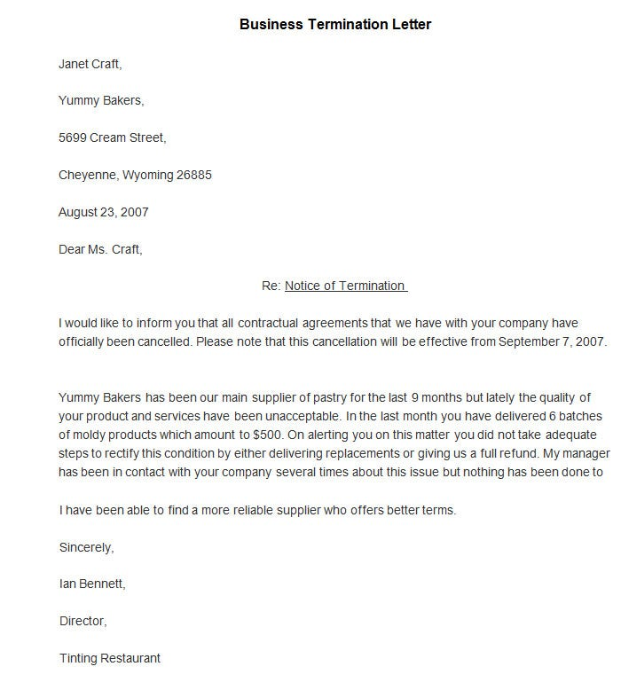 Sample Business Termination Letter