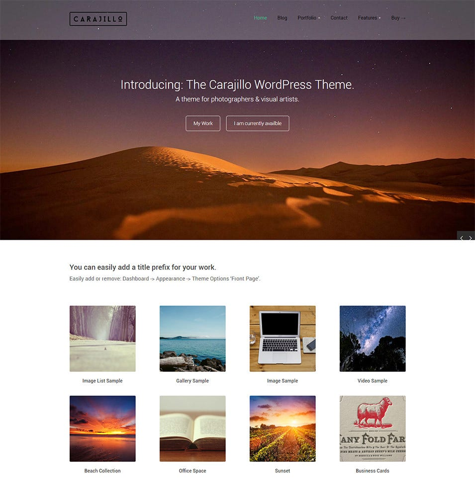 CARAJILLOperfect WordPress theme for photographers
