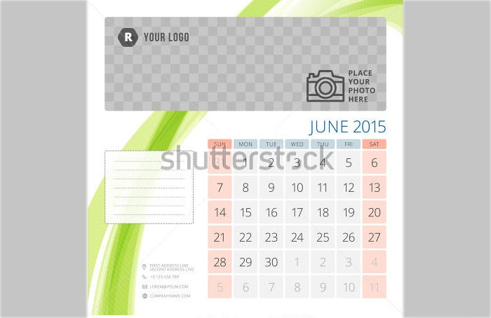 calendar 2015 june template with place for photo