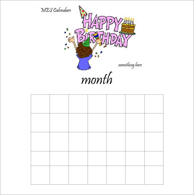 Homemade Calendar Template : Birthday calendar template free premium