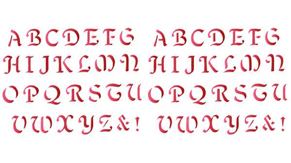 calligraphy alphabet stencil