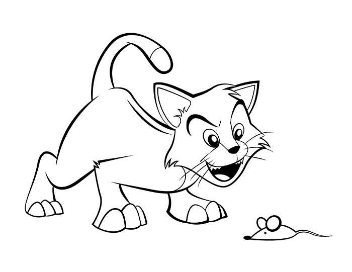 Cartoon Cat Coloring Page
