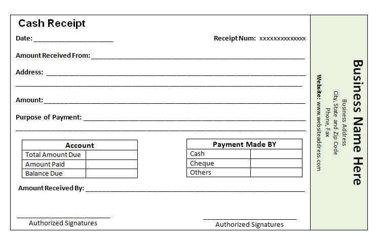 cash payment receipt template