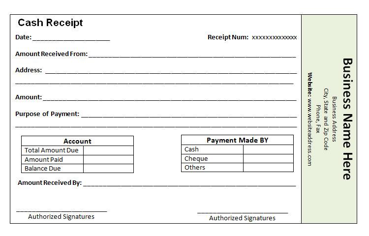 Cash Payment Receipt Template o74K4QZ8