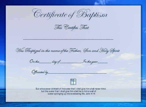 Word certificate template 49 free download samples for Free water baptism certificate template