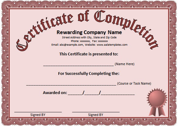 certificate of completion template word – Certificate of Excellence Template Word