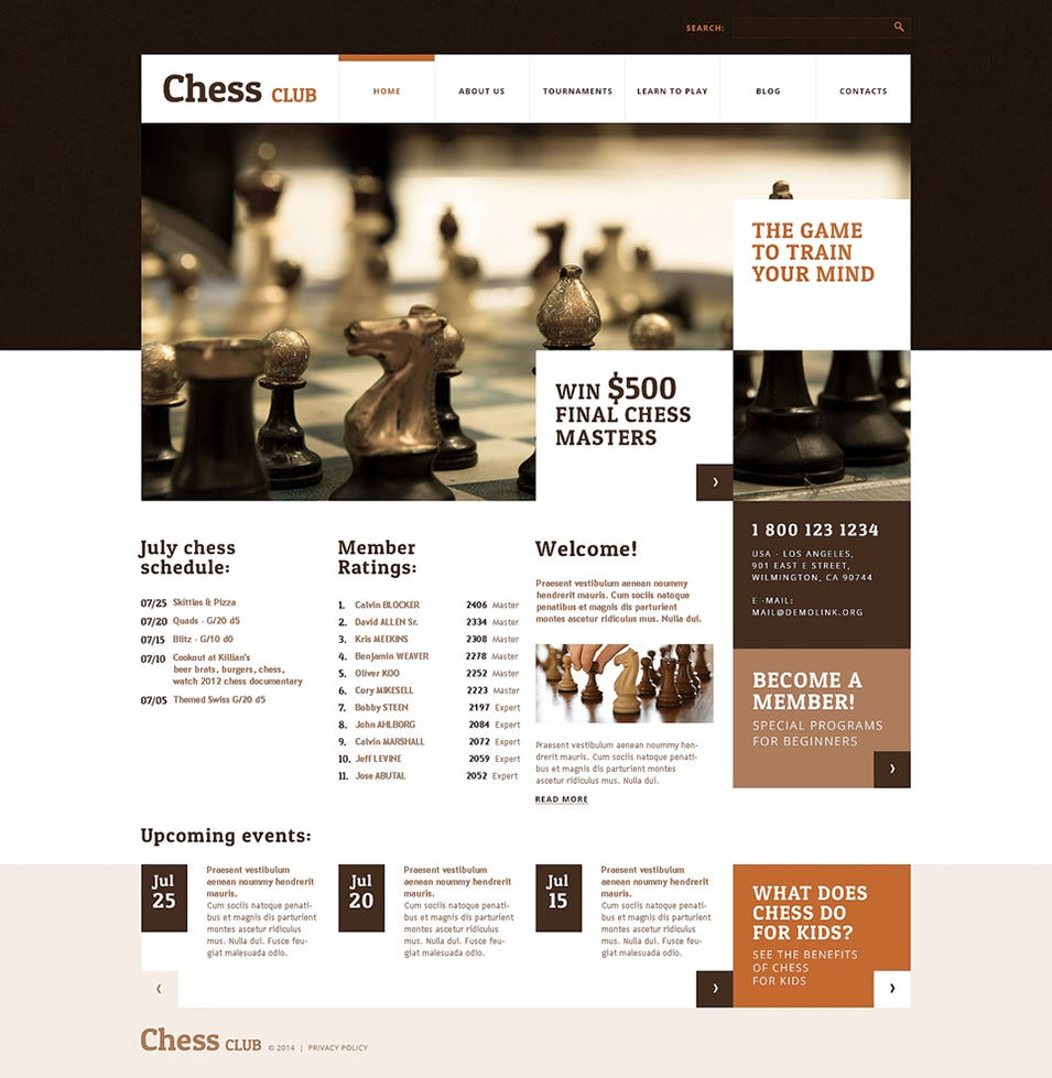chess club wordpress theme
