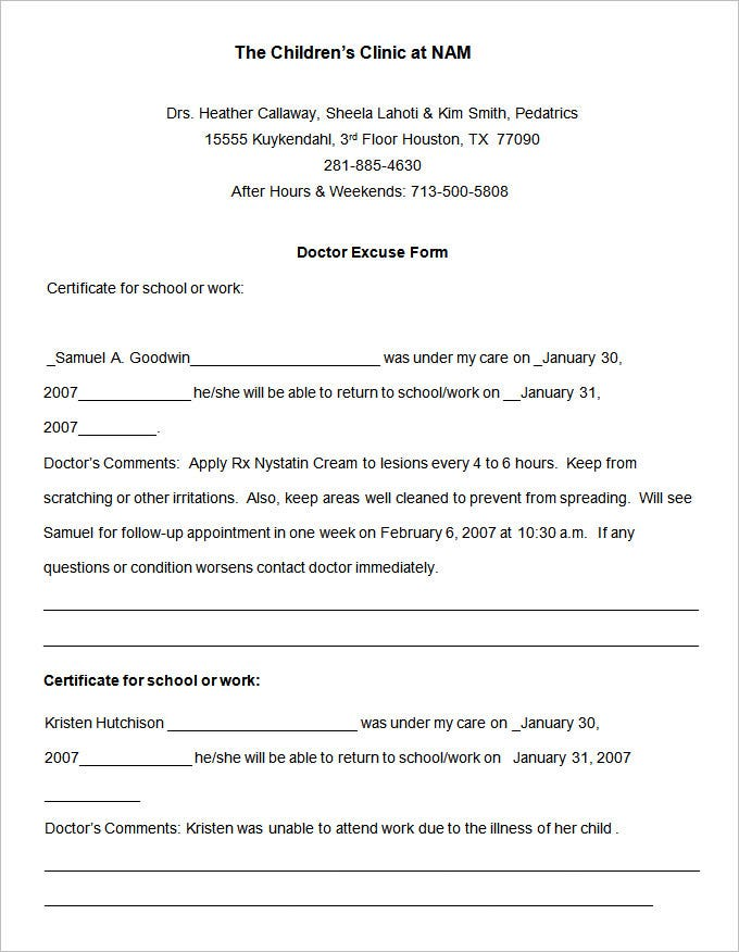 Childrens Clinic Doctors Note Template N00ntNPq