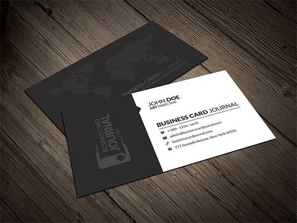 corporate business card template with world map