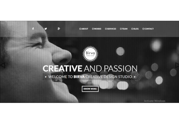 creative one page joomla theme