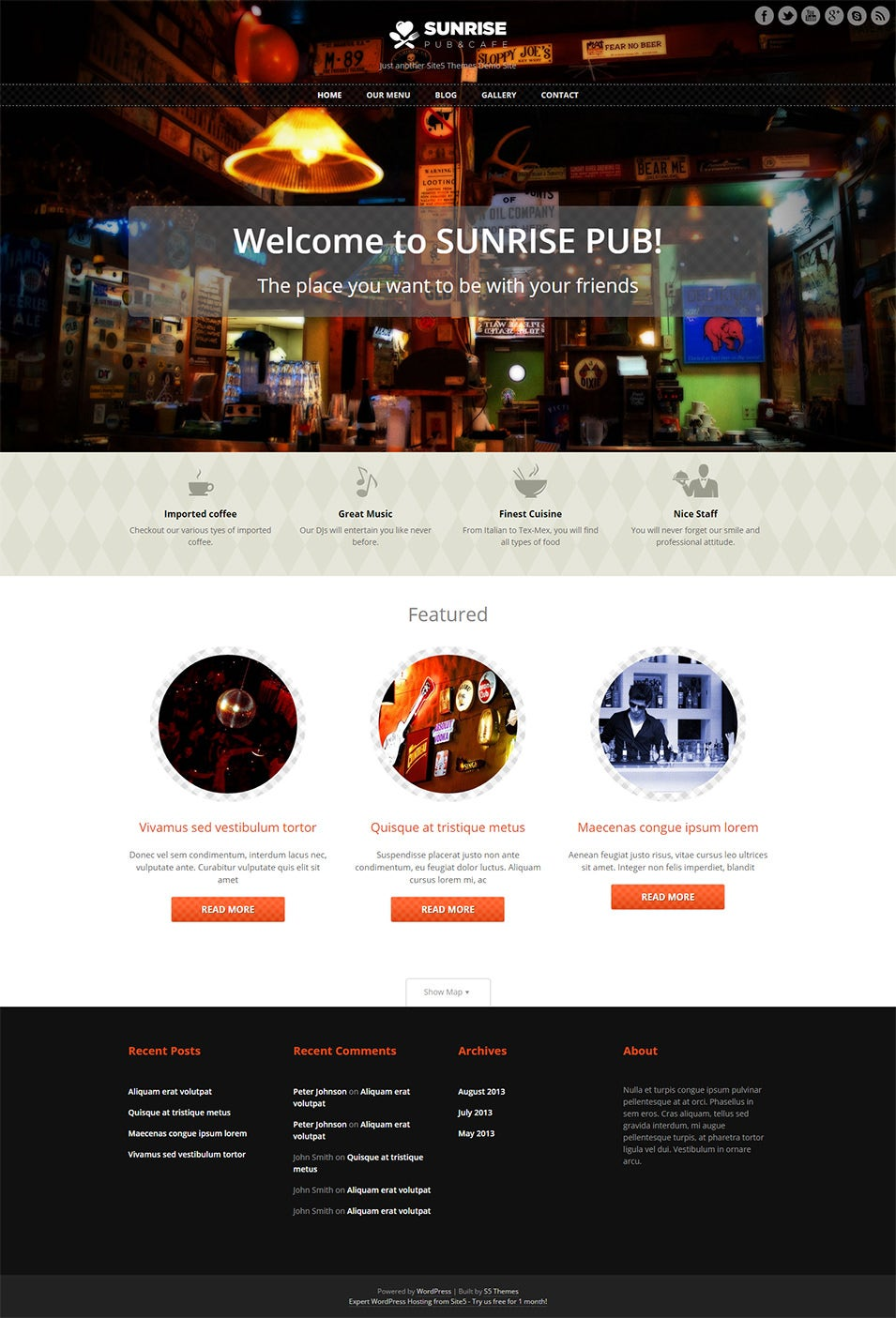 Free Responsive WordPress Theme for Pubs