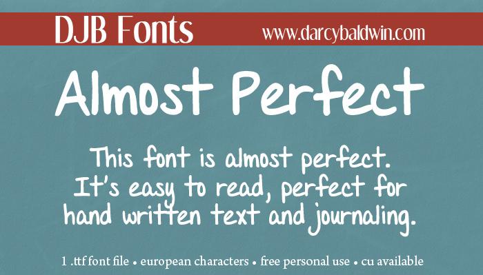 DJB Almost Perfect Handwritten Font Download