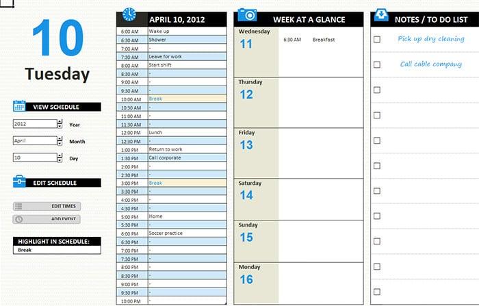Calendar Template Daily – Hoguma