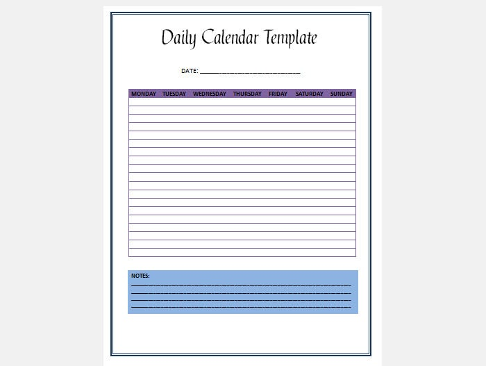daily schedule calendar template 3