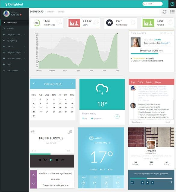 delighted flat ajax bootstrap 3 dashboard template1