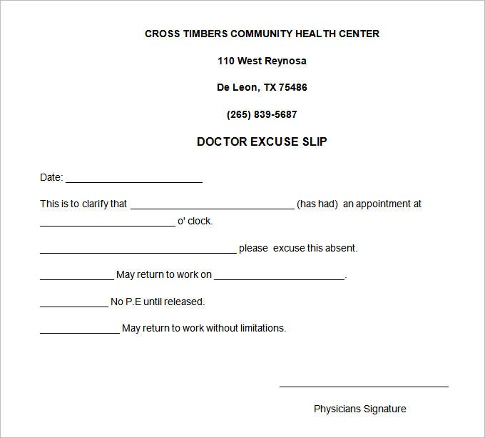 Doctors Excuse Note Template for Work NiuAra4y