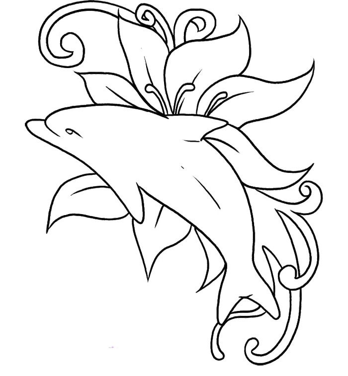 dolphin playing in sea coloring page