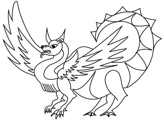 dragon fox coloring page
