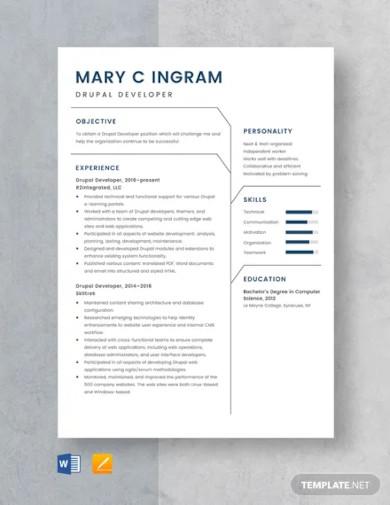 drupal developer resume template