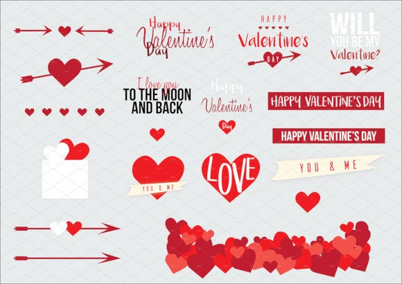 elegant valentines day labels and elements