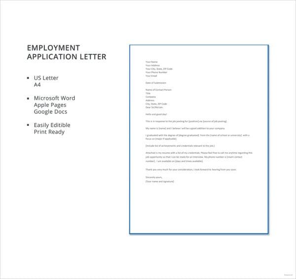 employment-application-letter-template
