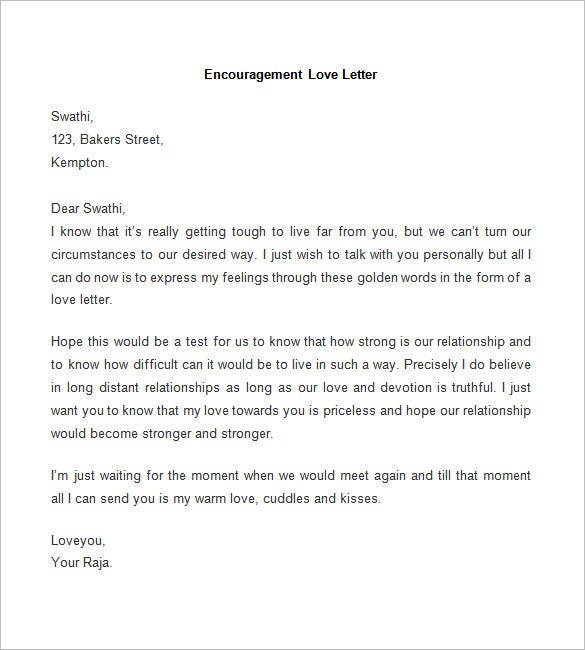 65 Love Letter Templates Free Sample Example Format Download – Encouragement Letter Template