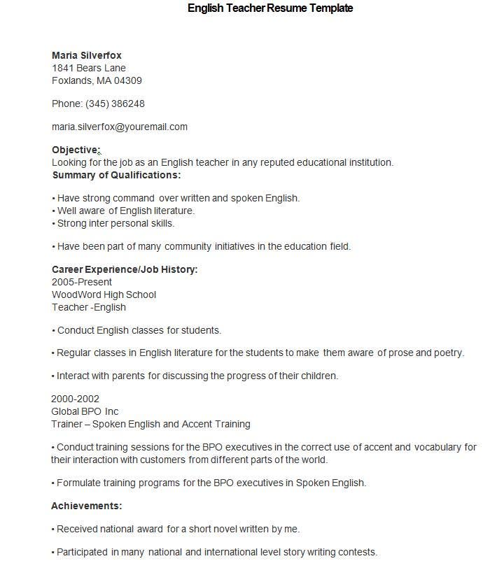 Sample English Teacher Resume Template  Teaching Resume Templates