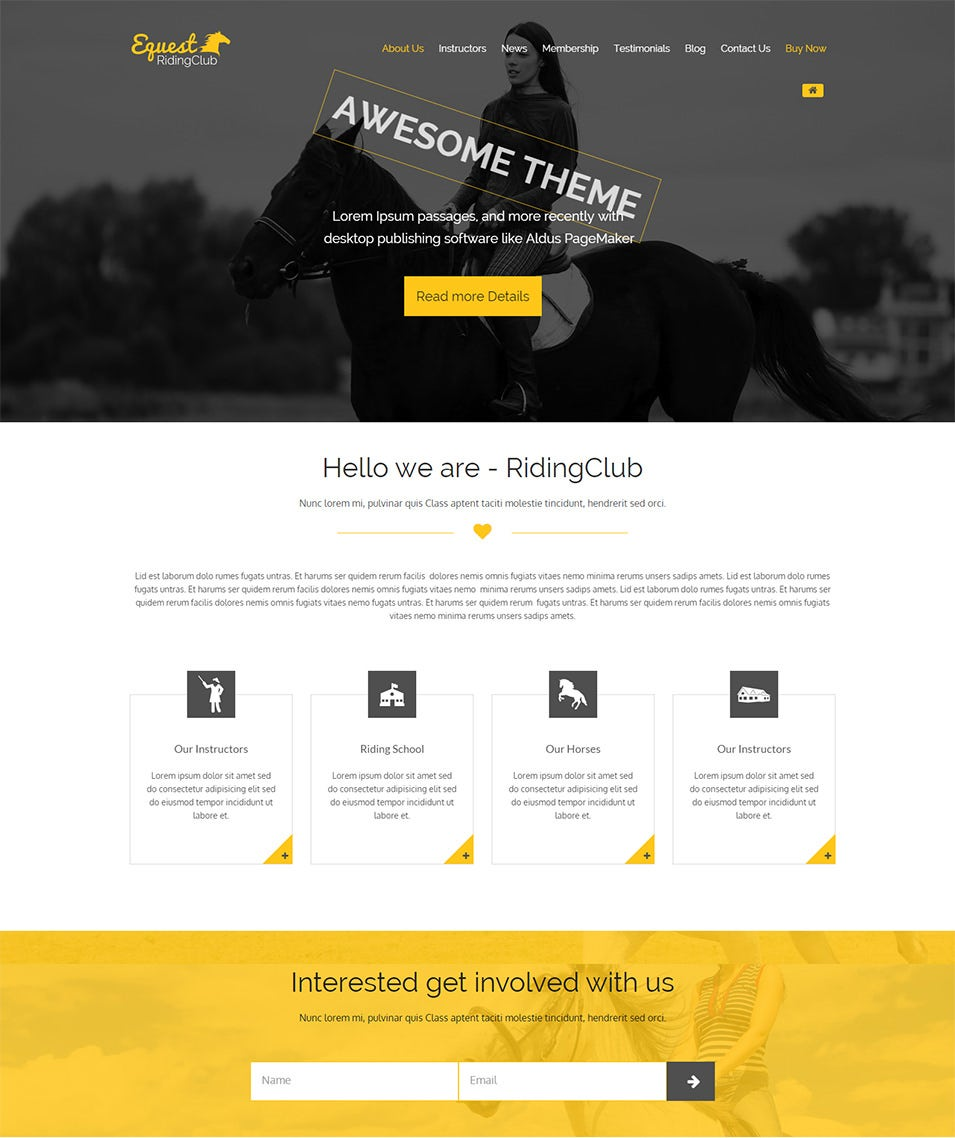Riding Club WordPress Theme